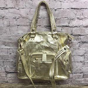 The Sak metallic gold leather crossbody handbag